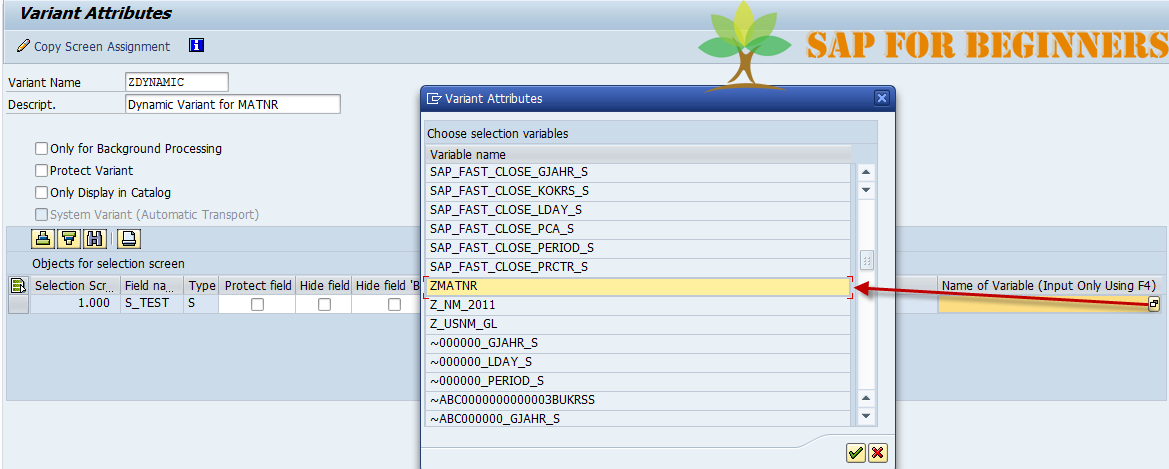 How to Create a Dynamic Variant in SAP using TVARV Table